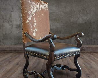 Colton Cowhide Arm Chair + Western + Lodge + Cowhide Dining Arm Chair