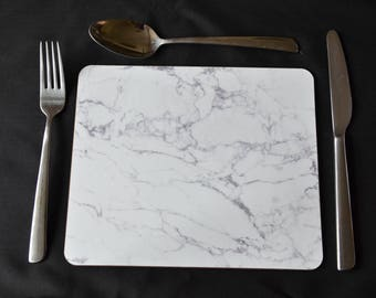 PLACEMAT SET. FAUX White Marble Small Placemats  - Set of Four. Stylish Dining Decor Option to Include a Soft Green Placemat Backing 230X190