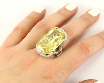 Vintage Women's Large Rectangular Yellow Crystal Ring 925 Sterling Silver RG 1088-E