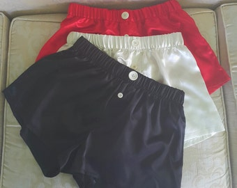 Set of 3 Women's Silky Satin Embellished Boxer Shorts.  Get 3 shorts in One Pack at a Great Price.