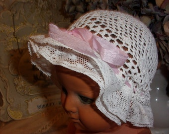 A nice little old bonnet, lace crochet, baby, doll.