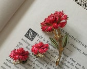 Vibrant red vintage signed Coro carnation brooch and earring set