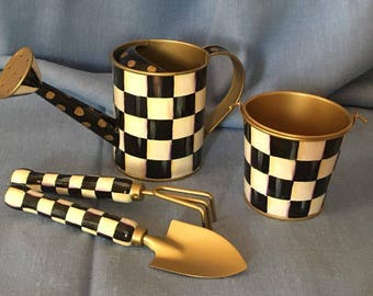 Checkered Black and White Hand Painted Home Garden Tools Set