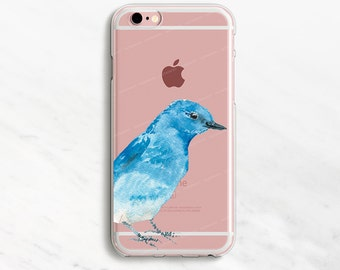 Bluebird iPhone 7 Case Clear Bird iPhone 6 Plus Case Clear Phone Case Blue Bird iPhone 6 Case Clear Watercolor iPhone 5s Case iPhone SE Case