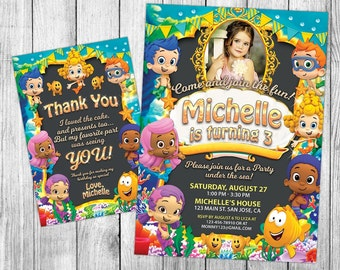 Bubble Guppies Invitations, Bubble Guppies Invite, Bubble Guppies Birthday, Bubble Guppies Party, Printable, Custom, FREE 4x6 Thank You Card