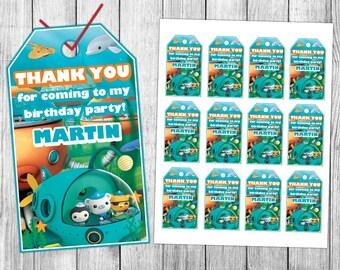 Octonauts Thank You Tags, Octonauts Favor Tags, Octonauts Gift Tags, Octonauts Tags, Octonauts Tag Printable, Octonauts Birthday Tags