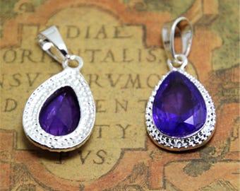 2pcs purple glass teardrop Charms Silver tone charm Pendants 17x27mm ASD2273