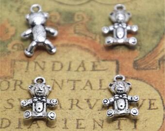 30pcs Teddy bear Charms silver tone Teddy bear charm pendants 11x17mm ASD1886