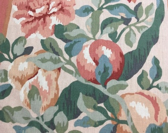 Vintage Kaufman Floral Fabric with Peaches and Pears in Melon