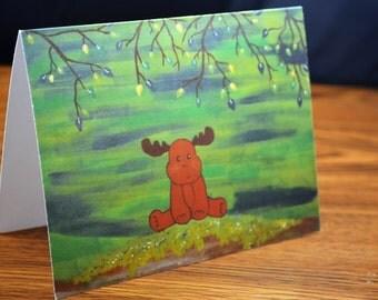 "Woodland Moose Note Card- Cute Forest Animal Greetings Card (Blank Inside)- Original Art Print:  ""The Whimsical Moose"""
