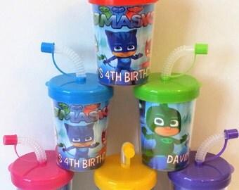 PJ Masks Party Favor Cups, PJ Masks Personalized Birthday Party Favor Cups Catboy Owlette Gekko Set OF 6