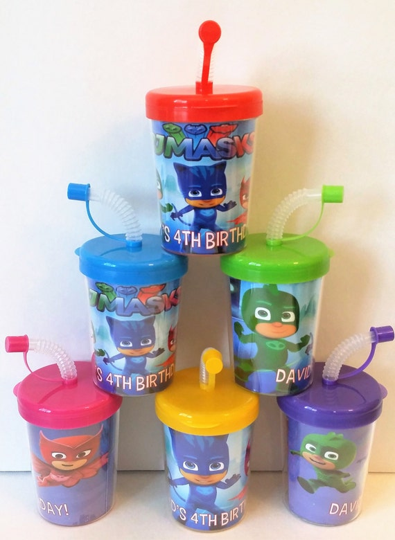 PJ Masks Party Favor Cups, PJ Masks Personalized Birthday Party Favor Cups Catboy Owlette Gekko at Kara's Party Ideas via KidsCups on Etsy
