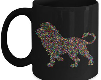 Cute Lion Mug Colorful Pixel Ceramic Coffee Mug - Black
