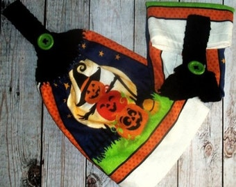 Crochet Top Towel, Halloween Decor, Halloween Dishtowel, Jack o Latern Towels, Set of 2