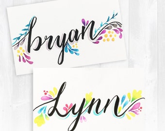 Customised hand written calligraphy + watercolor cards/place cards