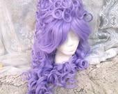 Purple Victorian Wig, Marie Antoinette Wig, Beehive wig, bee hive, lilac, light, pastel, Renaissance, Big Curly, Drag Queen, vintage, queen
