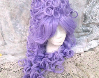 Purple Victorian Wig, Marie Antoinette Wig, Beehive wig, bee hive, lilac, light, pastel, Renaissance, Big Curly, Drag Queen, vintage, queen