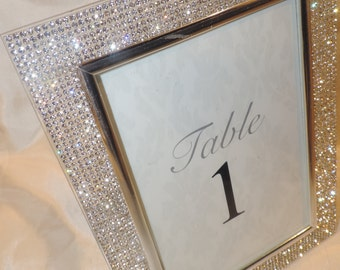 4 by 6 Rhinestone Picture Frame, Wedding Table Number Frame, Bridal Shower Gift, Table decor