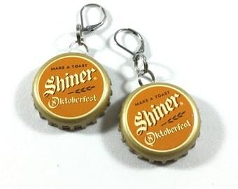 Bottle Cap Earrings - Shiner Oktoberfest | Drop Earrings | Dangle Earrings | Recycled | Bottlecap | Gifts for Beer Lovers | Octoberfest