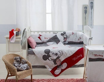Disney Gray Mickey 4-Piece Crib Bedding Set