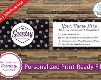 Scentsy Business Cards Authorized Scentsy Vendor Approved Printable Digital Printed Personalized Custom Card Stars Purple Black SCN-BC102