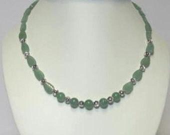 Green aventurine leaf Necklace, Bracelet and Earrings