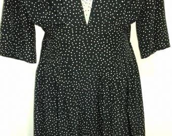"Vintage black white polka dots  dress ""SELENE"" fabric (Silk)  size ( USA:12 )"