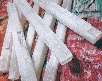 "Selenite Wand Healing Ritual Raw Crystal 8"""