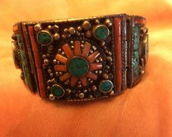 NEW PRICE Vintage Tibetan hinged cuff bracelet WAS 84.95