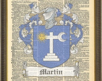 Martin Family crests art gift. Martin Irish Surname Family clan coat of arms. Martin of Ireland Vintage print.