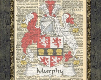 Family clan Murphy Irish surname Family crests art. Family coat of arms. Family crest gift. Vintage print.