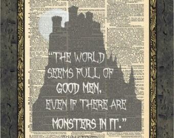 Bram Stoker Dracula quotes print. Dracula Horror book vampire quote art. Vintage Print.