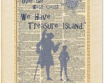 Treasure Island book quote art. Robert Louis Stevenson Classic Book quote. Treasure Island gift. Vintage print.