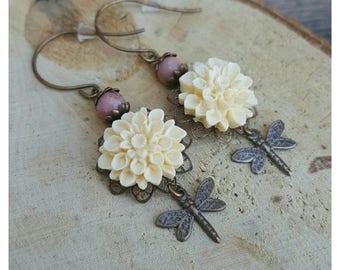 Boho Earrings - Dragonfly Earrings - Vintage White Flower Earrings - Dangle Earrings - Bohemian Earrings - Gift for Her - Bohemian Jewelry