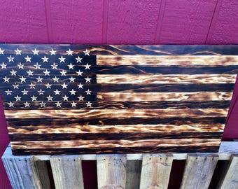 Handmade Burned Wood American Flag