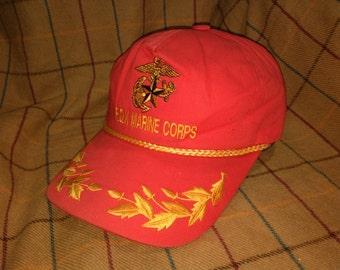 Vintage Rok Marines Cap Hat Rok Marines Embroidered Hat Cap