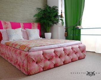Allure buttoned bed in fabric of your choice
