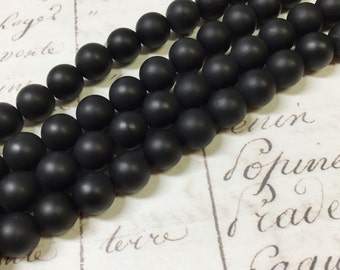 AA quality, Matte Onyx Beads, Round, 8mm, Full strand