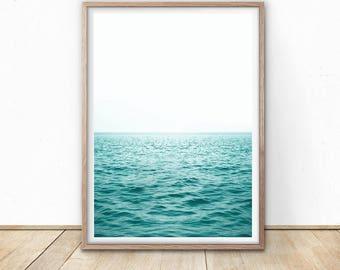 Ocean Print - Nautical Wall Art, Digital Print, Sea Photo, Beach Decor, Marine Art, Coastal Art Print, Scandinavian Prints, Blue Wall Art