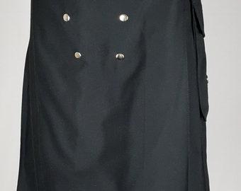 Black Detachable Pockets Fashion Kilt