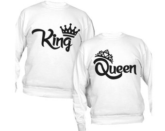 Couple personalized sweatshirts King and Queen crown