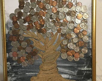 US coins Money Tree Original gift Wall decor Picture of coins 11,8х15,7