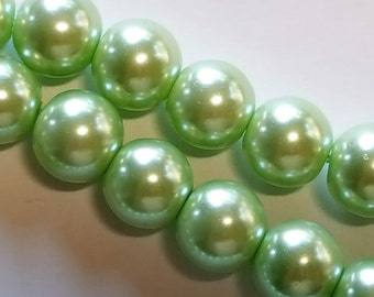 12mm light green round glass pearl beads  16 inch strand