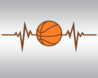 Heartbeat Basketball  SVG Clipart Cut Files Silhouette Cameo Svg for Cricut and Vinyl File cutting Digital cuts file DXF Png Pdf Eps