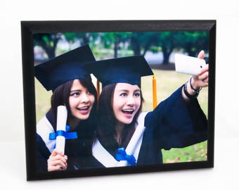 "Custom Sublimate Printed graduation gift  8"" x 10"" MDF Wood Text/Photo Plaque, with Black Ogee Edge And Built-In Keyholes and Back"