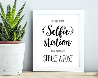 8x10 Printable Wedding Signs, Selfie Station Wedding Sign, Grab A Prop And Strike A Pose Sign, Wedding Photo Booth Sign, Wedding Printables