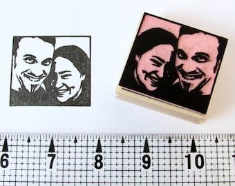 Hand carved Custom Portrait Rubber Stamp