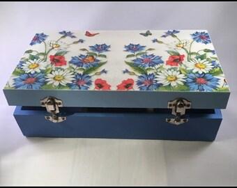 Keepsake, Jewellery Box, Blue Meadow, Handcrafted