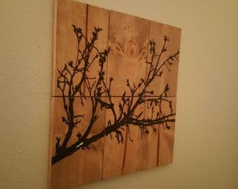 rustic wooden woodburnt wall hanging