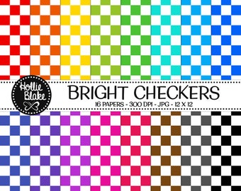 Buy 1 Get 1 Free!! 16 Bright Checkers Digital Paper • Rainbow Digital Paper • Commercial Use • Instant Download • #CHECKERS-101-B